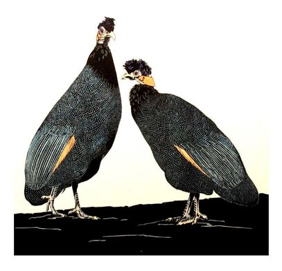 Crested Guineafowl - linocut by Vida Pearson